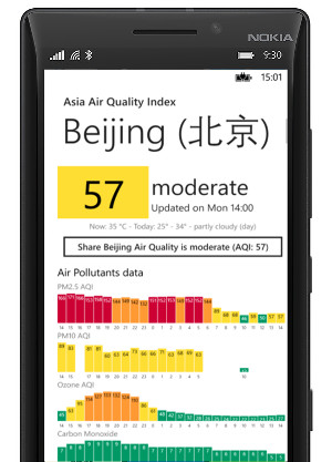 windows mobile lumia 海宁监测大楼, Hǎiníng, Jiaxing real-time air quality application